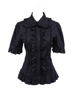 Black Cotton Lapel Ruffle Vintage Victorian Gothic Lolita Shirt Blouse - $38.98