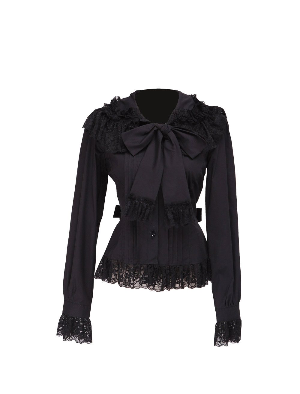 Primary image for Black Lace Ruffle Bow Retro Gothic Victorian Long Sleeve Cotton Lolita Blouse