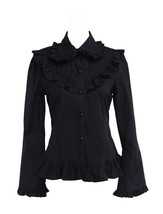 Black Cotton Lapel Retro Victorian Gothic Ruffle Lolita Shirt Blouse - $38.98