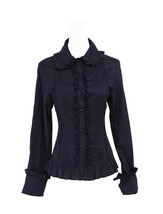 Black Lapel Ruffle Vintage Victorian Cotton Lolita Shirt Blouse - $38.98
