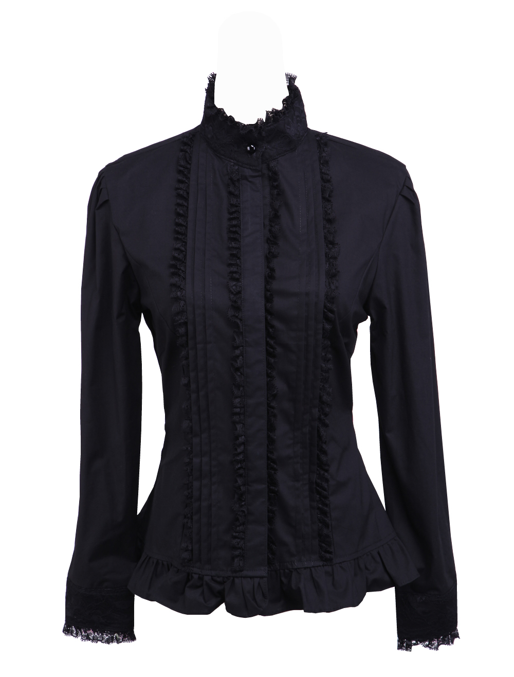 Primary image for Black Stand-up Collar Ruffle Retro Victorian Gothic Cotton Lolita Shirt Blouse