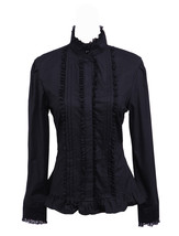 Black Stand-up Collar Ruffle Retro Victorian Gothic Cotton Lolita Shirt ... - $38.98