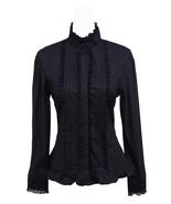 Black Stand-up Collar Ruffle Retro Victorian Gothic Cotton Lolita Shirt ... - $38.98