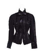 Black Stand-up Collar Lace Bow Ruffle Gothic Victorian Lolita Shirt Blouse - $38.98