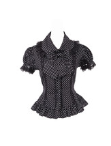 Black Cotton White Polka Dot Lapel Bow Ruffle Gothic Lolita Shirt Blouse - $38.98