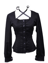 Black Low Collar Lace Ruffle Vintage Gothic Cotton Lolita Shirt Blouse - $38.98
