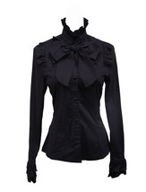 Black Stand-up Collar Bow Ruffle Victorian Gothic Cotton Lolita Shirt Bl... - $38.98
