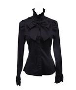 Black Stand-up Collar Bow Ruffle Victorian Gothic Cotton Lolita Shirt Bl... - $38.98