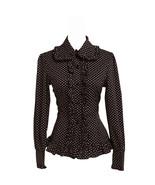 Black Cotton White Polka Dot Ruffle Victorian Lolita Shirt Blouse - $38.98