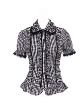 Grey Plaid Lace Ruffle Vintage Retro Victorian Cotton Lolita Shirt Blouse - $38.98