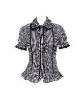 Grey Plaid Lace Ruffle Vintage Retro Victorian Cotton Lolita Shirt Blouse - $38.98