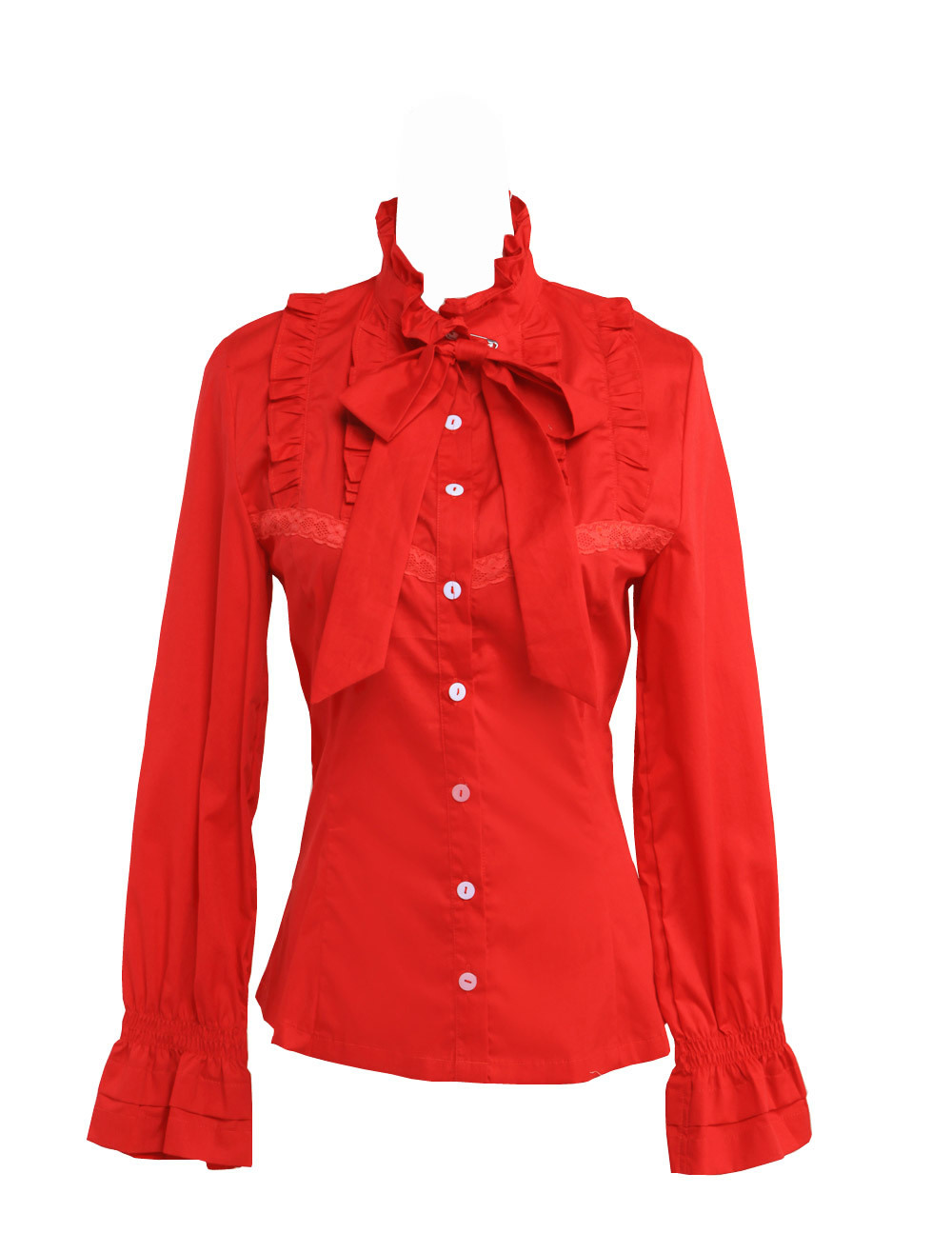 Primary image for Red Stand-up Collar Bow Ruffle Victorian Retro Cotton Lolita Shirt Blouse