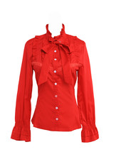 Red Stand-up Collar Bow Ruffle Victorian Retro Cotton Lolita Shirt Blouse - $38.98