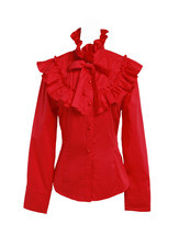 Red Cotton Ruffle Bow Victorian Vintage Stand-up Collar Lolita Shirt Blouse - $38.98