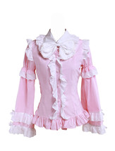 Pink Cotton Bow Ruffle Victorian Vintage Lolita Shirt Blouse - $38.98