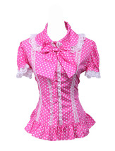 Pink Cotton White Polka Dot Bow Ruffle Retro Victorian Lolita Shirt Blouse - $38.98