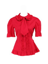 Red Cotton Lapel Ruffle Tie Retro Victorian Short Sleeve Lolita Shirt Bl... - $38.98