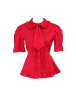 Red Cotton Lapel Ruffle Tie Retro Victorian Short Sleeve Lolita Shirt Bl... - $38.98