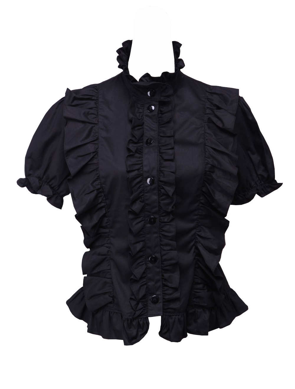 Primary image for Black Cotton Stand-up Collar Gothic Victorian Ruffle Lolita Shirt Blouse