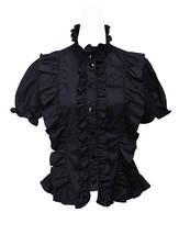 Black Cotton Stand-up Collar Gothic Victorian Ruffle Lolita Shirt Blouse - $38.98