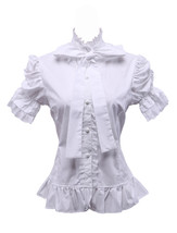 White Cotton Ruffle Stand-up Collar Bow Vintage Victorian Lolita Shirt Blouse - $38.98