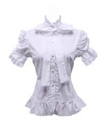 White Cotton Ruffle Stand-up Collar Bow Vintage Victorian Lolita Shirt B... - $38.98
