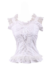 White Cotton Ruffle Lace Straps Retro Victorian Lolita Shirt Blouse - $38.98