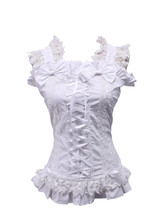White Cotton Bow Lace Ruffle Retro Victorian Sleeveless Lolita Shirt Blouse - $38.98