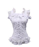 White Cotton Bow Lace Ruffle Retro Victorian Sleeveless Lolita Shirt Blouse - $38.98