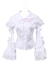 White Cotton Lapel Bow Ruffle Retro Victorian Lolita Shirt Blouse - $38.98