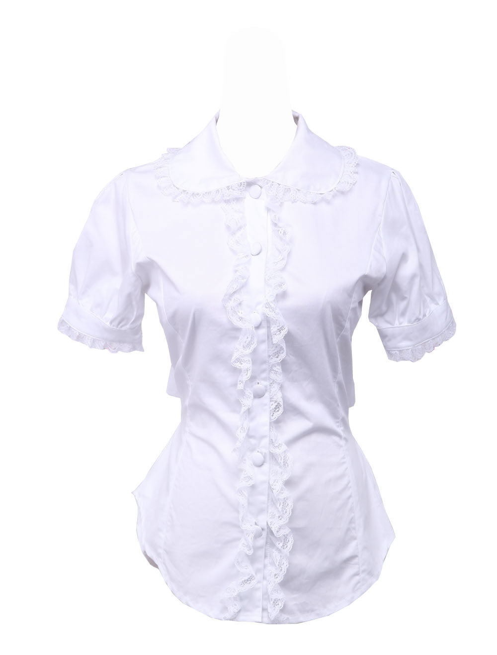 Primary image for White Cotton Lapel Lace Back Bow Retro Victorian Lolita Shirt Blouse