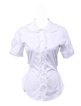 White Cotton Lapel Lace Back Bow Retro Victorian Lolita Shirt Blouse - $38.98