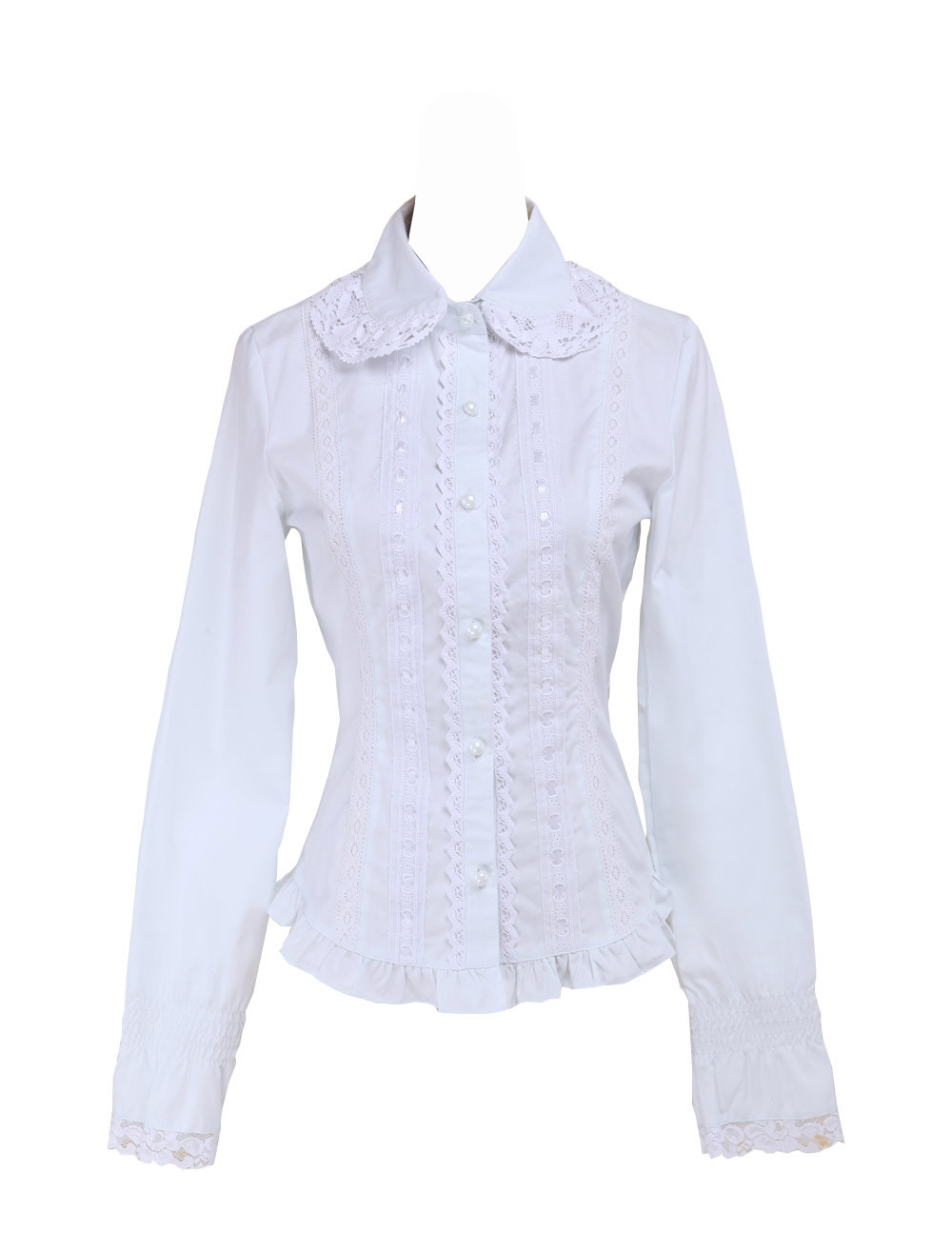 Primary image for White Cotton Lace Ruffle Lapel Vintage Victorian Lolita Shirt Blouse