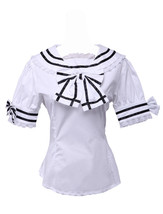 White Cotton Bow Cravat Lace Short Sleeve Sailor Lolita Shirt Blouse - $38.98