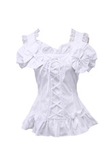 White Cotton Straps Bow Ruffle Lace Victorian Sleeveless Lolita Shirt Blouse - $38.98