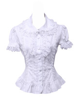 White Cotton Lace Ruffle Lapel Retro Victorian Lolita Shirt Blouse - $38.98