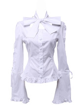 White Cotton Bow Low Collar Ruffle Vintage Victorian Lolita Shirt Blouse - $38.98