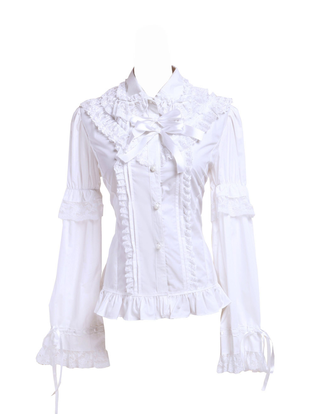 Primary image for White Cotton Lace Ruffle Bow Retro Victorian Lolita Shirt Blouse