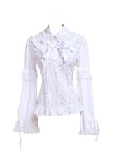 White Cotton Lace Ruffle Bow Retro Victorian Lolita Shirt Blouse - $38.98