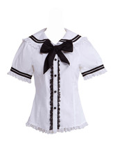 White Cotton Black Bow Lace Sailor Short Sleeve Lolita Shirt Blouse - $38.98