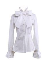 White Cotton Stand-up Collar Bow Ruffle Retro Victorian Lolita Shirt Blouse - $38.98