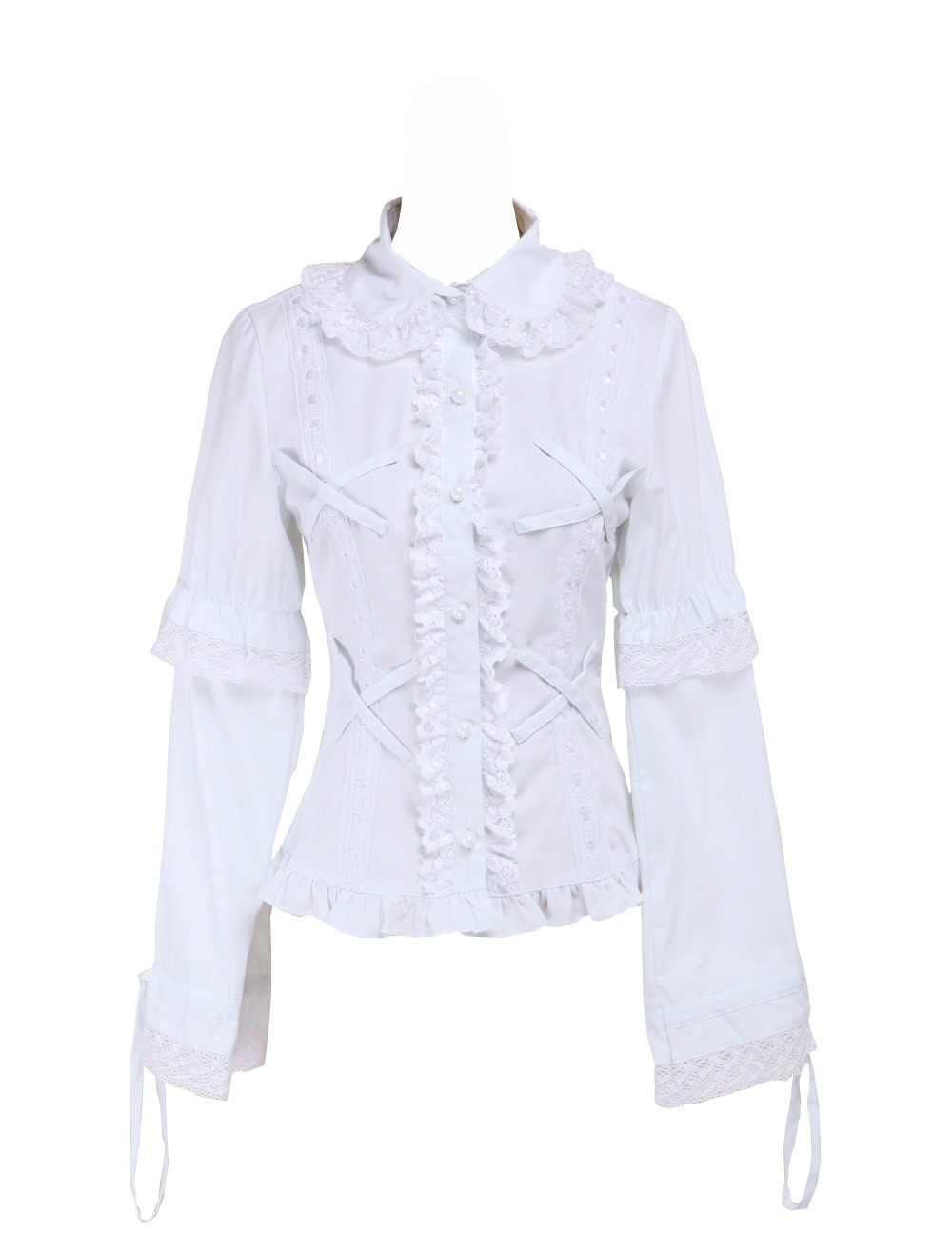 White Cotton Lapel Lace Ruffle Retro Victorian Lolita Shirt Blouse - $38.98