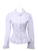 White Cotton Lace Lapel Ruffle Retro Victorian Lolita Shirt Blouse - $38.98