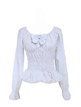 White Cotton Low Collar Bow Ruffle Victorian Lolita Shirt Blouse - $38.98