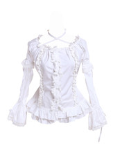 White Cotton Low Collar Lace Ruffle Retro Victorian Bell Lolita Shirt Blouse - $38.98