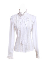 White Stand-up Collar Lace Ruffle Cravat Retro Victorian Lolita Shirt Bl... - $38.98