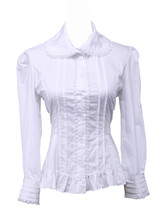 White Cotton Lapel Ruffle Pintucks Victorian Lolita Shirt Blouse - $38.98