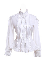 White Cotton Stand-up Collar Lace Ruffle Pintucks Victorian Lolita Shirt Blouse - $38.98