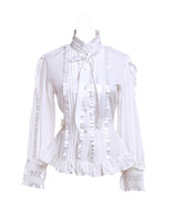 White Cotton Stand-up Collar Lace Ruffle Pintucks Victorian Lolita Shirt... - $38.98