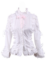 White Cotton Lace Ruffle Crava Bow Retro Victorian Lolita Shirt Blouse - $38.98